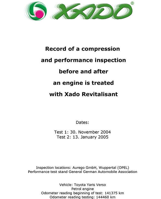 Record of a compression and performance inspection before and after an engine is treated with Xado Revitalisant