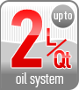 Up to 2L/Qt oil system